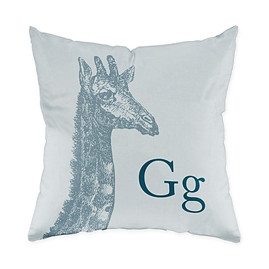 Checkerboard Giraffe Throw Pillow; Blue Grey
