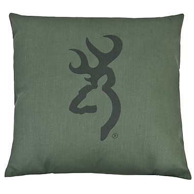 Browning Buckmark Camo Logo Throw Pillow; Light Green