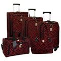 Jenni Chan Signature 5 Piece Luggage Set; Black / Red