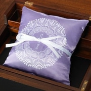 Checkerboard Personalized Lace Ring Throw Pillow; Lilac