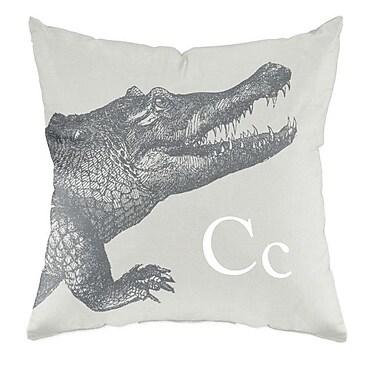 Checkerboard Crocodile Throw Pillow; Warm Grey