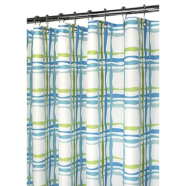 Watershed Prints Wavy Plaid Shower Curtain; Pop Blueberry