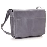 Le Donne Leather Full Flap Computer Messenger; Gray
