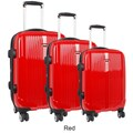 J World Concord 3 Piece Polycarbonate Expandable Spinner Luggage Set; Red