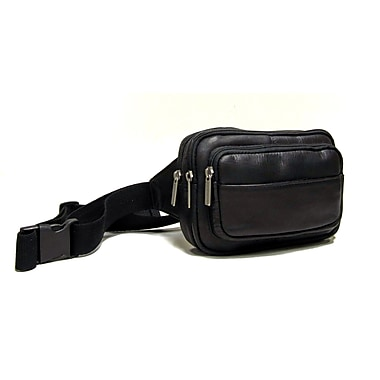 Le Donne Leather Four Compartment Waist Bag; Black
