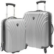 Traveler's Choice 2 Piece Hardsided Expandable Luggage Set; Silver