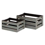 Woodland Imports 2 Piece Wood Crate Basket Set; Grey Hue