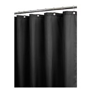 Watershed Solid Polyester Satin Stripe with Hooks Shower Curtain; Black