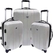 Traveler's Choice Cambridge 3 Piece Hardshell Spinner Luggage Set; Silver Gray