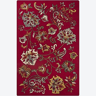 Chandra Ast Red Floral Area Rug; 5' x 7'6''
