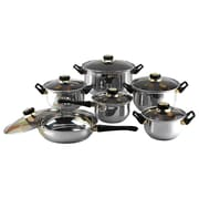 Gourmet Chef Gourmet Chef 12 Stainless Steel Piece Cookware Set; Tinted Glass