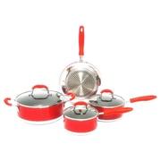 Gourmet Chef Gourmet Chef Non-Stick 7 Piece Cookware Set; Red