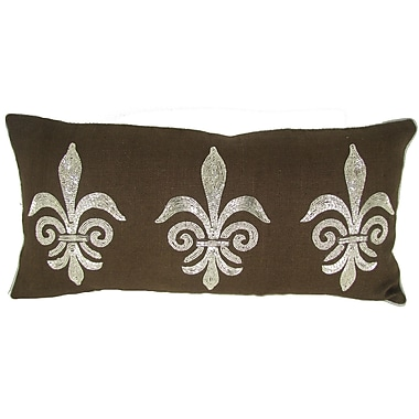 Design Accents Fleur Di Lye Jute Throw Pillow; Chocolate