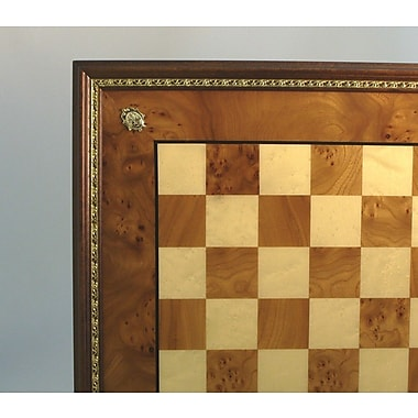 Ital Fama Elm Chess Board with Gold Trim