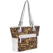 Parinda Melody Quilted Fabric with Croco Faux Leather Tote Bag
