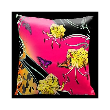 Lama Kasso Butterflies and Tiger Lily Throw Pillow