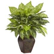 Nearly Natural Dieffenbachia Desk Top Plant in Decorative Vase