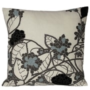 Kevin O'Brien Studio Hydrangea Embellished Throw Pillow; Ivory