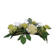 House of Silk Flowers Artificial Hydrangea and Berry Triple Candleholder; Cream/Green