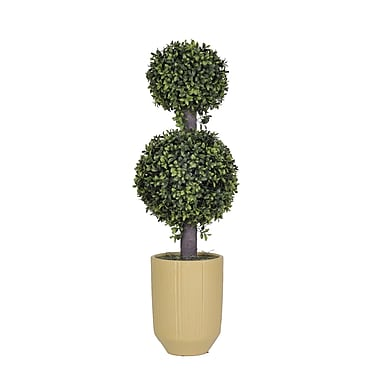 House of Silk Flowers Artificial Double Boxwood Ball Topiary in Planter