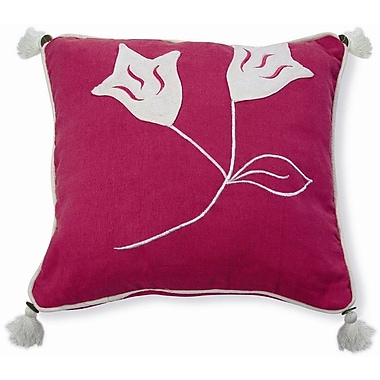 New Spec Embroidery Lily Cotton Throw Pillow; Pink