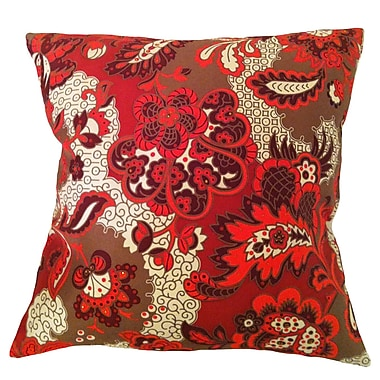 Filos Design Fiore Vintage Prints Repeat Floral Silk Throw Pillow; Tango