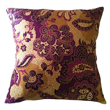 Filos Design Fiore Vintage Prints Repeat Floral Silk Throw Pillow; Eggplant