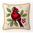Peking Handicraft Winter Cardinal Decorative Wool / Cotton Pillow