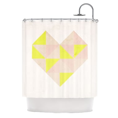 KESS InHouse Geo Heart Shower Curtain; Pink