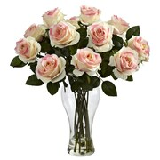 Nearly Natural Blooming Roses with Vase; Light Pink