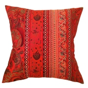 Filos Design Fiore Vintage Prints Floral Stripe Silk Pillow; Tango