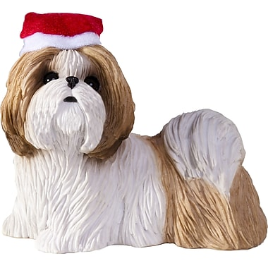 Sandicast Shih Tzu Christmas Tree Ornament; Gold / White