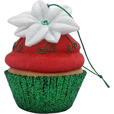 Sandicast Poinsettia Cupcake Christmas Tree Ornament; Red