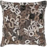 India's Heritage Felt Alphabets Throw Pillow; Mix Natural