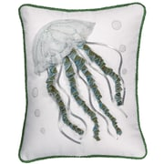 Rightside Design I Sea Life Jellyfish Toss Cotton Throw Pillow; White