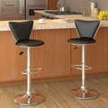 dCOR design CorLiving 23.5'' Adjustable Bar Stool with Cushion (Set of 2); Black