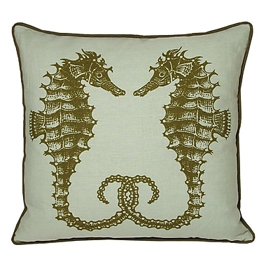 Kevin O'Brien Studio Nauticals Seahorse Throw Pillow; Seaglass
