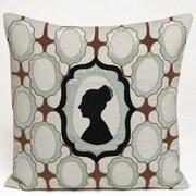 Kevin O'Brien Studio Silhouette Embellished Linen Throw Pillow; Powder Blue