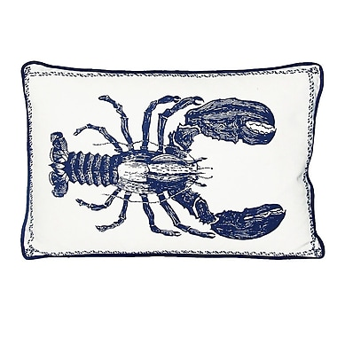 Kevin O'Brien Studio Nauticals Lobster Lumbar Pillow; Indigo