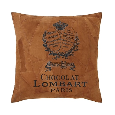 Woodland Imports Faux Leather Throw Pillow; Brown