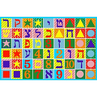 Fun Rugs Fun Time Hebrew Numbers and Letters Educational Area Rug; 4'3'' x 6'6''