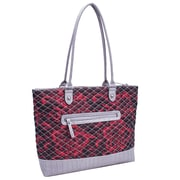 Parinda Allie Quilted Fabric with Croco Faux Leather Tote Bag; Red Floral Grey