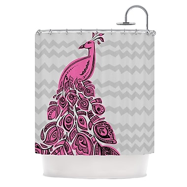 KESS InHouse Peacock Shower Curtain; Pink