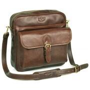 Aston Leather Top Zipper Shoulder Bag; Brown