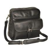 Aston Leather Top Zipper Shoulder Bag; Black