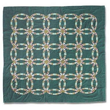 Patch Magic Green Double Wedding Ring Cotton Shower Curtain