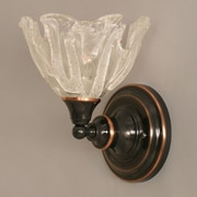 Toltec Lighting 1 Light Wall Sconce w/ Glass Shade; Black Copper