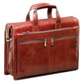 Mancini Signature Classic Leather Laptop Briefcase; Brown