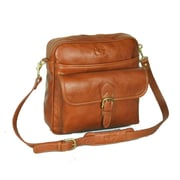 Aston Leather Top Zipper Shoulder Bag; Tan