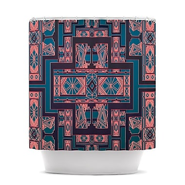 KESS InHouse Golden Art Deco Shower Curtain; Blue and Coral